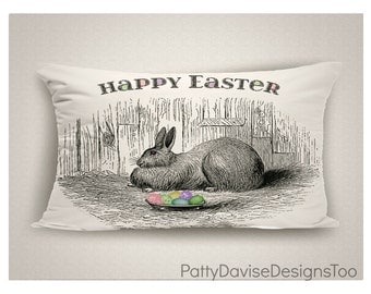 Easter Pillows, Easter Pillow Cover, Easter Decorations, Bunny Pillow, Spring Pillow, Easter Decor, Decorative Throw Pillow, Made in USA