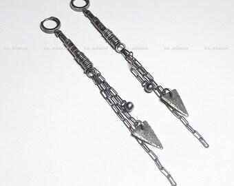 Long earrings Raw sterling silver Oxidized Sterling silver earrings