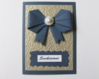 Luxurious Dark Blue Aged Gold Paper Handmade Card Invitation Paper Ribbon Embossed Paper