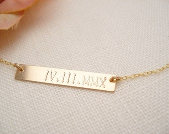 14 kt. gold filled Bar Necklace...Personalized Engraved Name plate bar jewelry, Sorority gift, monogram, bridesmaid gift