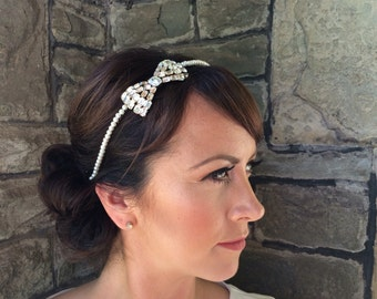 Vintage diamante bridal headpiece - wedding headband - Bow headpiece - wedding hair accessory