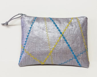 Silver oilcloth pouch with festive turquoise and yellow decorative stitching / crazy quilt stitched pouch / embroidered pouch