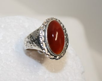 SALE: Large carnelian ring; sterling silver and carnelian cabochon ring; vintage carnelian; hand made sterling silver ring; southwest style