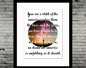 Desiderata Poem - Inspirational Print Art - Wall Art, Nursery, On Archive Paper 8x10""