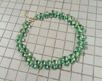 Natural Green Fluorite Flat Pear Briolette Beaded Necklace