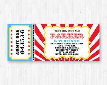 Carnival Invitation - Printable Circus Birthday Party Invitation - Instant Download with Editable Text