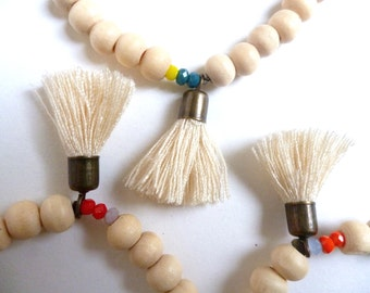 Mala bracelet wood beads and PomPoms - wood bracelet with pompon