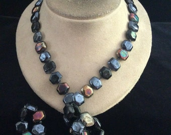 Vintage Long Multi Colored Glass Beaded Necklace
