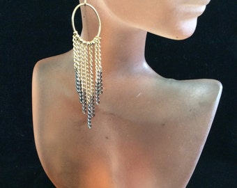Vintage Two Tone Pieced Dangling Chains Earrings