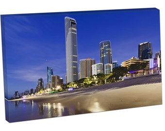 FO0439 Print On Canvas QE Surfers Paradise City SKYSCRAPERS Beach Gold COAST