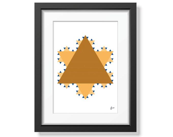 Koch star 12 [mathematical abstract art print, unframed] A4/A3 sizes