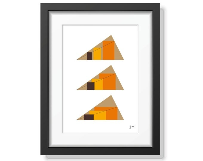 Rectangles in Triangles 01 [mathematical abstract art print, unframed] A4/A3 sizes