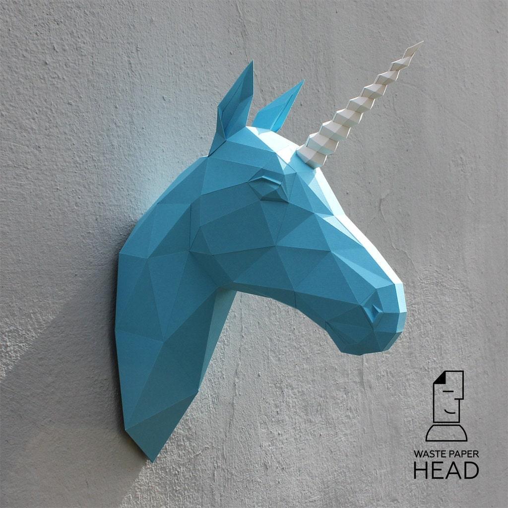 Papercraft unicorn head printable DIY template by ... - photo#41