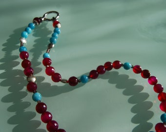 a fuchsia and turquoise necklace