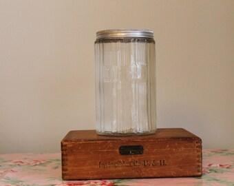 Vintage Hoosier Coffee Jar, Large Hooiser Glass Square Jar, Coffee Storage, Retro Kitchen