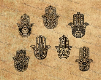 Digital SVG PNG hamsa, hamsa hand, boho hand, peace, hand of fatima, hand of miriam, clipart, vector, silhouette, instant download