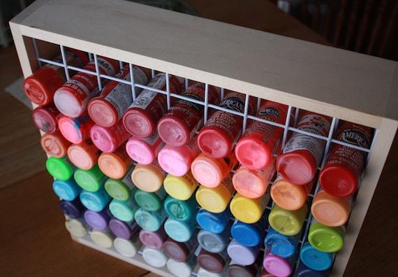 Craft Paint Storage Rack Holds 81 2 Oz Bottles Of Square Box Bottle