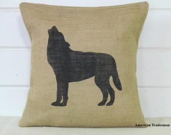 Wolf Pillow- Burlap Pillow, Woodland Nursery Decor, Lodge Decor, Cabin Decor, Wolf Silhouette, Animal Pillows,
