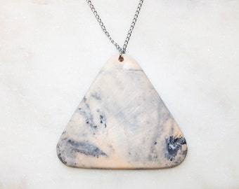 NUDEMARBLE STATEMENT necklace - designer jewellery made of cold porcelain, silver, chain, triangle, handmade, unique, fashion, marble