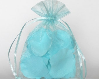 Organza Gift Bags, Light Blue Sheer Favor Bags with Drawstring for Packaging, pack of 50