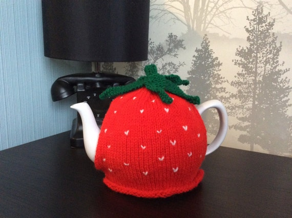 Hand Knitted Strawberry Tea Cosy by CraftySewandSaw on Etsy