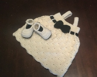 Crochet baby wave dress and booties.  Size 0-3 months.