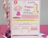 1st birthday Card. Girl's personalized 1st birthday card.  Age birthday card.  Children's birthday card.
