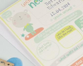 New baby boy card. Personalized new baby card.  personalised new baby boy card. new baby name card