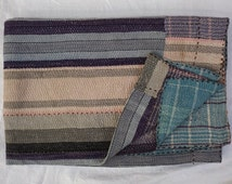 Vintage Kantha Quilt Twin Size Home Decorative Throw Reversible Cotton Blanket