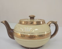 Gibsons Teapot Greek Key Design, 1950s Home Decor, Cream and Brown Glaze, English Vintage Afternoon Tea,
