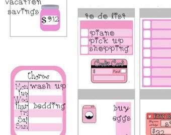 Pink theme week summer 2016 stock printable planner stickers