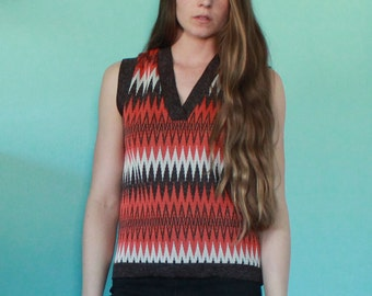Retro 70's Zigzag Sweater Vest