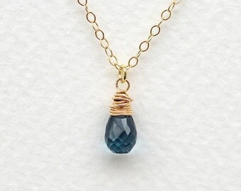 London Blue Topaz Gem Drop Necklace