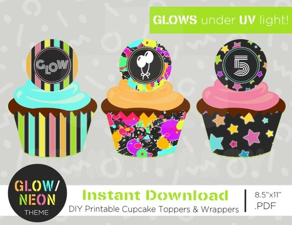 Cupcake toppers wrappers neon cupcake toppers edit yourself il570xn solutioingenieria Images
