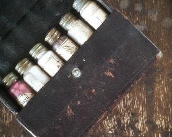 Antique 1900's Medicine Bottles in Leather Case