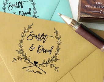 Self Inking Wedding Stamp, Round Wedding Stamp, Custom Wedding Stamp, Invitation Stamp, Save The Date Personalized Rubber Stamp HS186P
