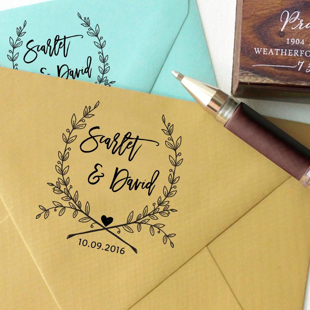 Self Inking Wedding Stamp Round Wedding Stamp Custom Wedding