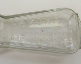 Vintage 1920s  Apothecary Bottle - Lavona Hair Tonic Bottle