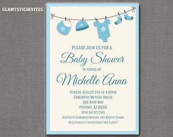 Baby Shower Invitation, Baby Boy Invitation, Boy Baby Shower Invitation, Blue Baby Shower Invitation, Baby Shower, Gender Neutral, Shower