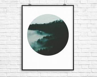 Forest Print, Circle Print, Circle Art, Forest Photography, Cloud Photography, Cloud Print, Forest Art, Instant Download Art