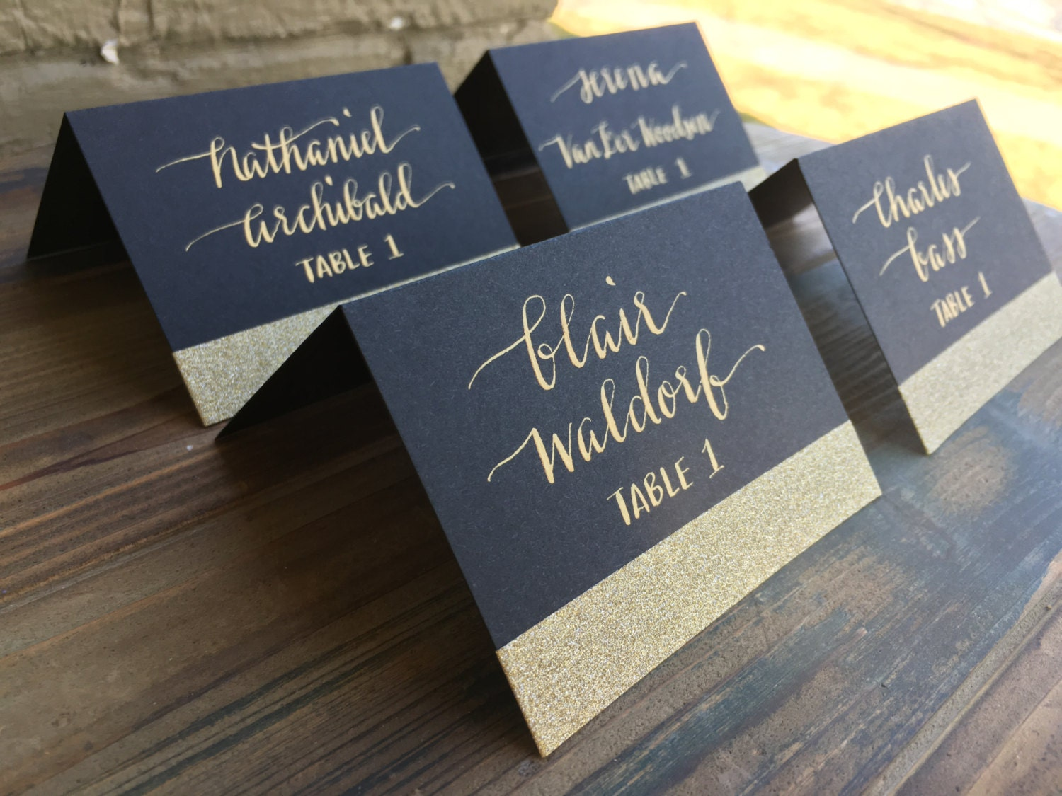 escort cardswedding calligraphygold wedding place cards Escort Cards Wedding Calligraphy Gold place cards Gold escort cards Black place cards Black and gold place