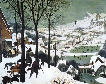 """16"""" X 20"""" Hunters in the Snow 1565 by Pieter Bruegel the Elder Vintage Poster Repro FREE S/H in USA"""