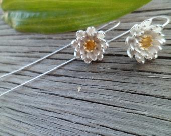 925  Silver Flower Earrings -  Flower Drop Earrings  - Chrysanthemum Daisy   Earrings -   Earrings - Long Silver Earrings