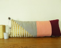 tube pillow cover cube pattern fabric 65x25 cm