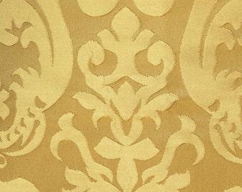"Gold Damask Brocade Italian Bella Drapery Upholstery Fabric 57"""
