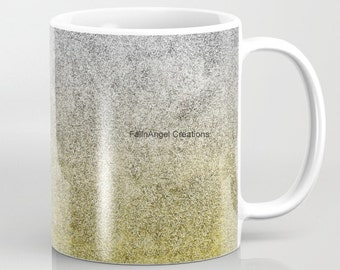 Silver and Gold Glitter Gradient Mug, 4 Types Available! Original Art