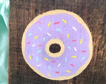 """Purple Sprinkled Donut - 6"""" Square"""