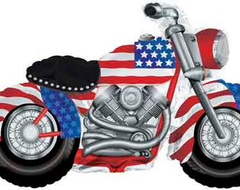 """Huge 47"""" Patriotic Motorcycle balloon. Memorial Day decor. 4th of july party. Summer Party. Motorcycle balloon. Mickey 4th of july balloons."""