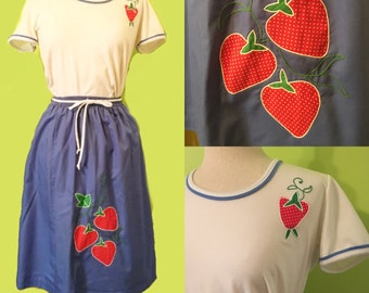 Cute  1970's strawberry top and skirt set by Pickent'n Post