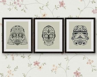 Set, Star Wars Cross Stitch Pattern, Darth Vader, Stormtrooper, C3PO StarWars Sugar Skull Counted Cross Stitch Chart, PDF Instant Download